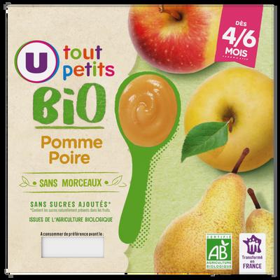 Pots dessert pomme poire 4/6mois U TOUT PETITS BIO 4x100g