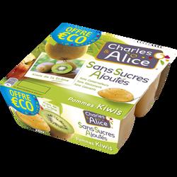 Spécialité de fruits sans sucre ajouté pomme kiwi CHARLES ET ALICE 4x97g offre économique
