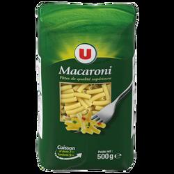 Macaroni qualité supérieure U, paquet cello de 500g