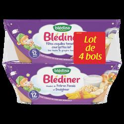 BLEDINER bols pâtes coquilles tomates courgettes lait x2/mouliné de potiron panais et boulghour x2 dès 12mois Blédina 4x200g