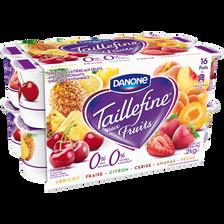 Spécialité laitière aux fruits avec édulcorant panaché 0% TAILLEFINE,16x125g