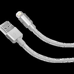 Cable tresse SBS lightning mfi 1m silver-connecteur métal
