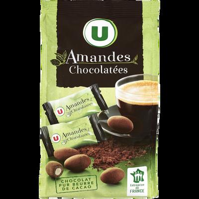Amandes chocolatées U, paquet de 125g