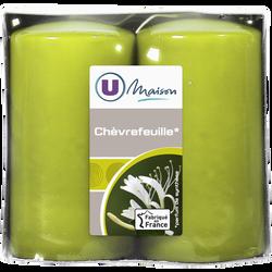 Bougies U MAISON, parfumées chèvrefeuille, 48x90mm, vert 2 unités