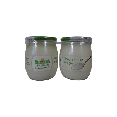 Yaourt nature maigre 0%MG LE PETIT VERSAILLAIS, pot en verre 2x125g