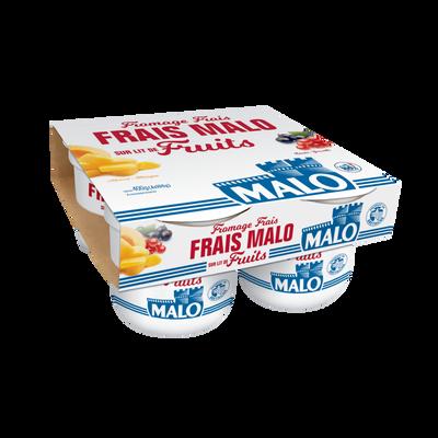 Fromage frais sur lit de fruits, MALO, 40% de MG, 4x100g