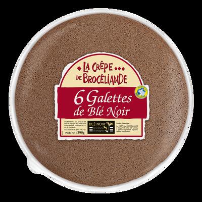 Galette de blé noir tradition Bretagne LA CREPE DE BROCELIANDE, sachetx6 390g