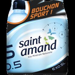 Eau minérale naturelle bouchon sport SAINT AMAND, pack de 6x50cl