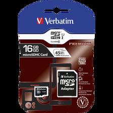 Carte mémoire Micro SD Pro VERBATIM, classe 10, 16Go + adaptateur