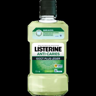 Bain de bouche quotidien anti-caries sans alcool goût plus léger au thé vert LISTERINE, bouteille de 500ml