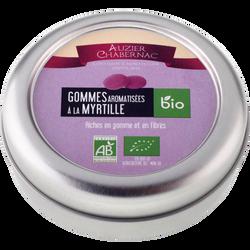 Gommes aromatisées à la prune et la cerise bio AUZIER CHABERNAC, boîteen fer 45g