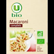 Macaroni complet U BIO, paquet de 500g