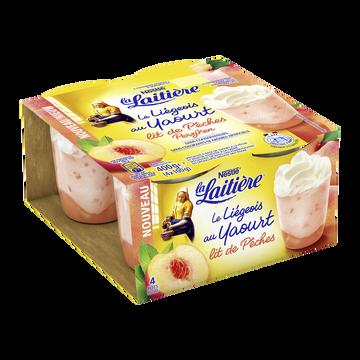 Nestlé Liégeois Au Yaourt Sur Lit De Pêche La Laitiere, 4x100g