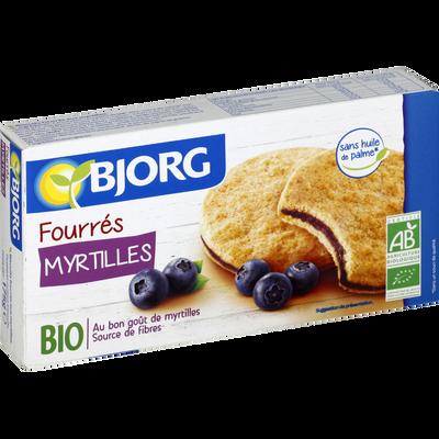 Biscuits fourrés à la myrtilles bio BJORG, paquet de 175g