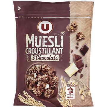 D'aucy Muesli Croustillant Aux 3 Chocolats U, Doypack De 500g