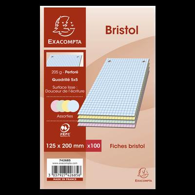 Fiches perforées BRISTOL, 12,5x20 cm, couleur, pack de 100