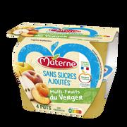 Materne Compote Sans Sucre Ajouté Multi Fruits Du Verger Materne, 4x100g