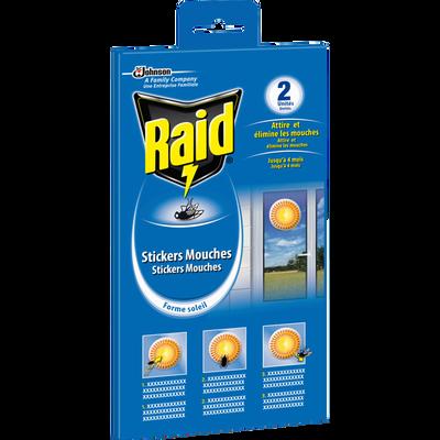 Stickers anti-mouches vitres motif soleil RAID, x2