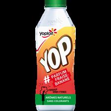 Yaourt à boire sucré arômatisé fraise et banane, YOP, bouteille de 850g