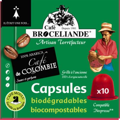 Café Colombie 100% arabica BROCELIANDE, 10 capsules