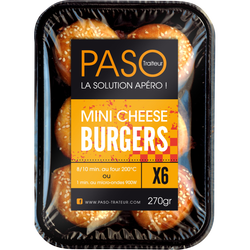 Mini cheese burger Les Apéros PASO, x6 soit 270g