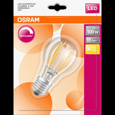 Ampoule led premium OSRAM, ronde, 100W E27, verre filament transparentlumière chaude variateur
