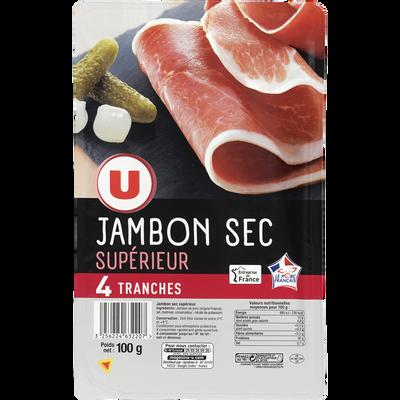 Jambon sec supérieur, U, 4 tranches de 100g