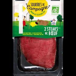 Steak***de boeuf, BIO, SOURIRES DE CAMPAGNE, France, 2 pièces, barquette, 260g