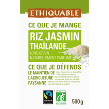 Riz jasmin de Thailande Bio ETHIQUABLE, 500 g