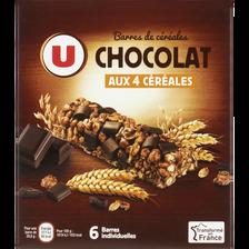 Barre de céréales au chocolat noir U, 6 unités,  125g