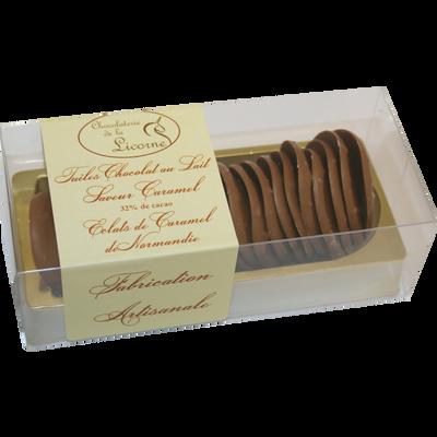 Tuile choco éclat caramel Normandie, CHEVALIER D'ARGOUGES, étui 150g