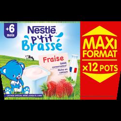P'tit brassé fraise NESTLE dès 6 mois, 6x100g