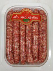 Chipolatas de porc aux herbes, 3 RIVIERES, Origine France, 6 pièces, Barquette,