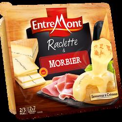 Raclette pasteurisé & lait cru tranche nature et morbier 29% de matière grasse ENTREMONT, 350g