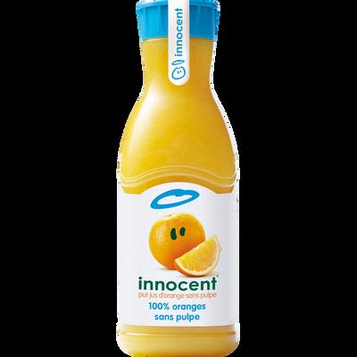 Pur jus d'orange sans pulpe réfrigéré INNOCENT, bouteille de 900ml