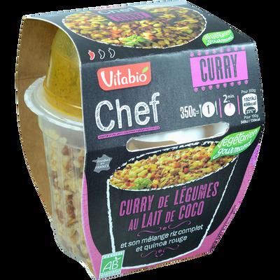 Chef Curry de légumes au lait de coco et son mélange riz complet et quinoa rouge VITABIO, 350g