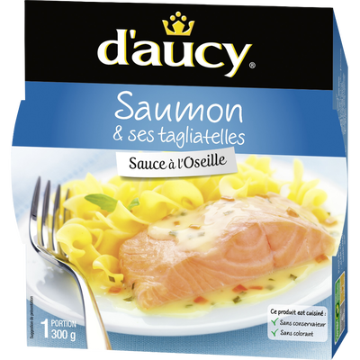 Filet de saumon à l'oseille et tagliatelles D'AUCY, 300g