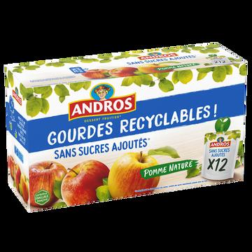 Andros Gourdes Pomme Nature Sans Sucre Ajouté Andros, 12x90g