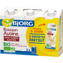 Boisson lait d'avoine sans sucres bio BJORG, brique 3x251ml