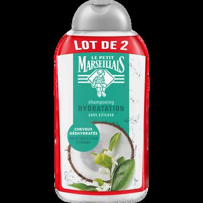 Shampoing hydratation parfum eau de coco et fleur d'oranger LE PETIT MARSEILLAIS, 2 flacons de 250ml