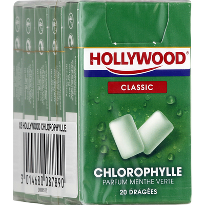 Chewing gum à la chlorophylle HOLLYWOOD Regular dragées, 5x28g