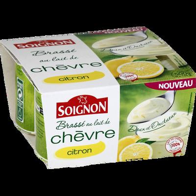 Yaourt brassé au lait de chèvre avec morceaux de citrons, SOIGNON, 4x125g