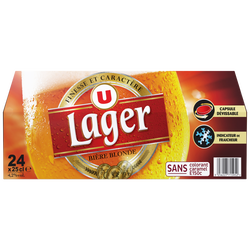 Bière blonde Lager U, 4,2°, pack bouteille 24x25cl