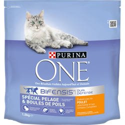 ONE, chat adulte boules de poils poulet pour chat, 1,5kg