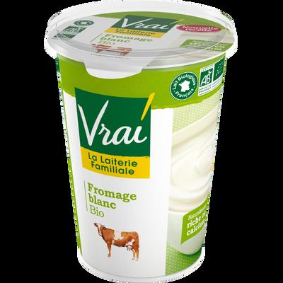 Fromage blanc nature au lait pasteurisé BIO VRAI, 3,6 % de MG, pot de500g
