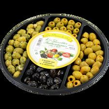 Olives vertes denoyautées farcies poivron, olives noires façon grèce,barquette de 300g