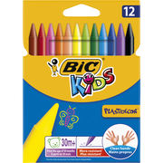 Bic Craies De Coloriage Ronde Plastidécor Kids Bic, 12 Unités, Coloris Assortis