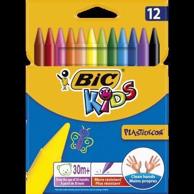 Craies de coloriage ronde Plastidécor Kids BIC, 12 unités, coloris assortis