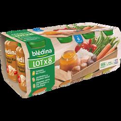 Petits pots bébé (tomates riz poulet, jardinières légumes boeuf, légumes verts riz saumon) BLEDINA, dès 6mois, 8X200g