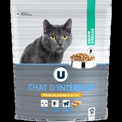 Croquettes premium pour chat d'intérieur au poulet et riz U, paquet de450g